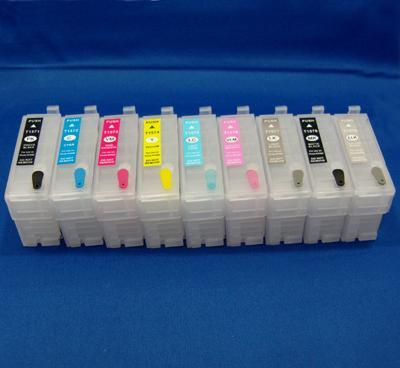 Empty Set of 9 T7601-T7609 High Capacity Cartridges W/ Quick Reset Chip for Epson SureColor P600