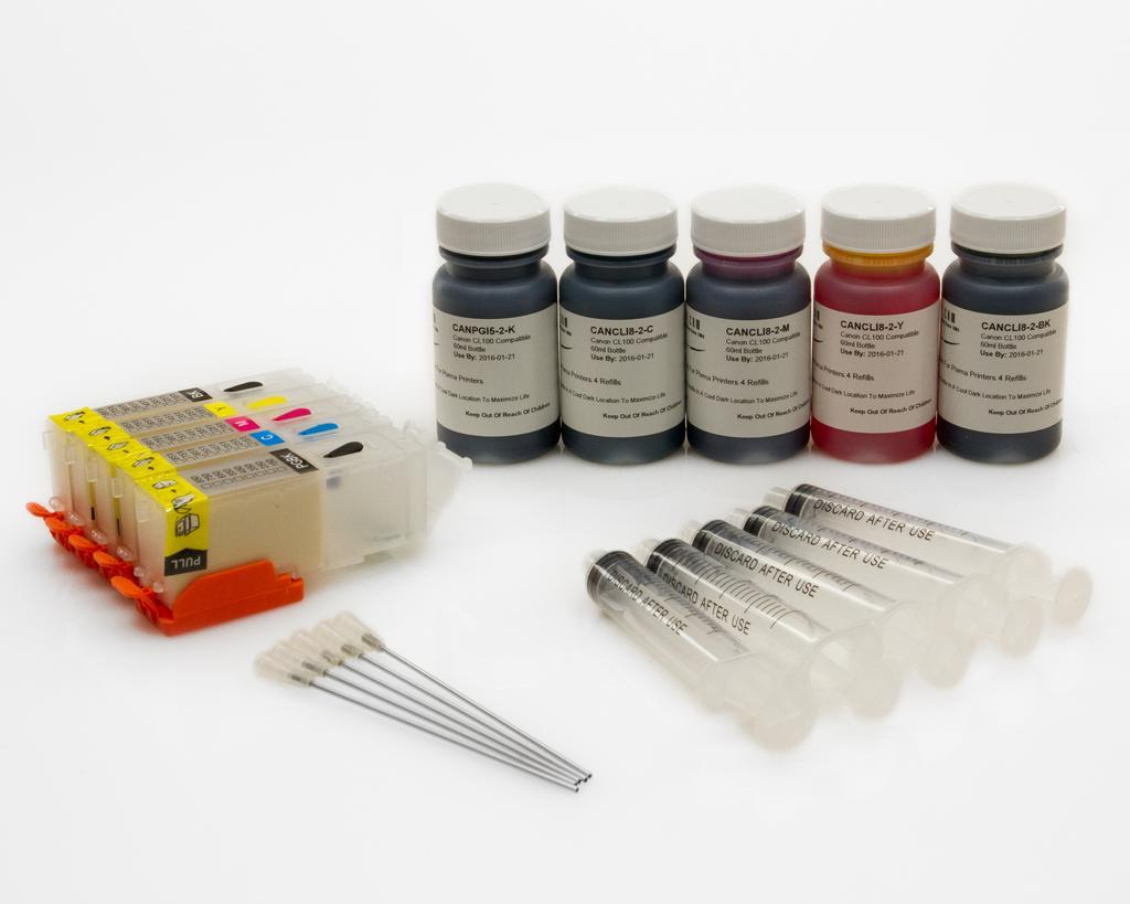 Complete Refill Kit for 5 Cartridge CLI271 C,M,Y,PK, PGI270 K - Printers Includes Accessories, Cartridges and Ink - NEW PRODUCT LIMITED STOCK