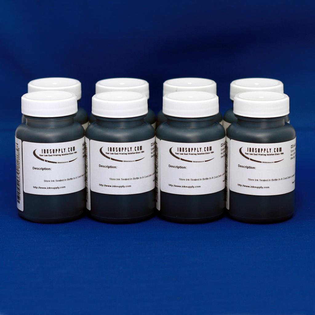 MIS BLACK ONLY EBONI v1.1 INK FOR (K, PK, GLOP) POS, AND MIS R800 UC EQUIVALENT COLOR INK FOR (C, M, Y, R, B) POSITIONS - 8 FOUR OZ BOTTLES - (POSSIBLE 24-48 HOUR LEAD TIME)