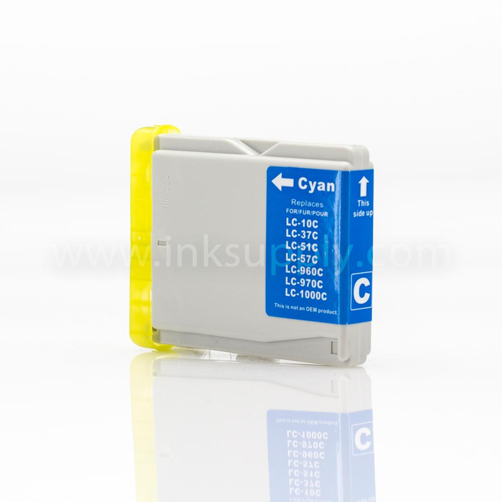 REMANUFACTURED BROTHER LC51C CYAN INKJET CARTRIDGE FILLED WITH AFTERMARKET COMPATABLE INK