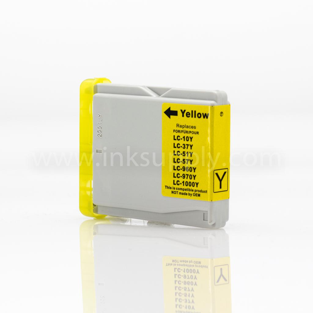 REMANUFACTURED BROTHER LC51Y YELLOW INKJET CARTRIDGE FILLED WITH AFTERMARKET COMPATABLE INK