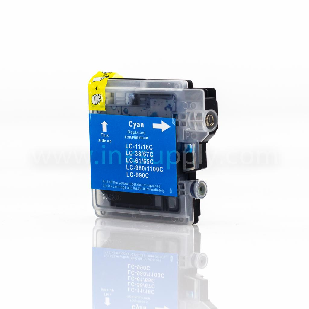 COMPATIBLE BROTHER LC61C CYAN INKJET CARTRIDGE FILLED WITH AFTERMARKET COMPATABLE INK