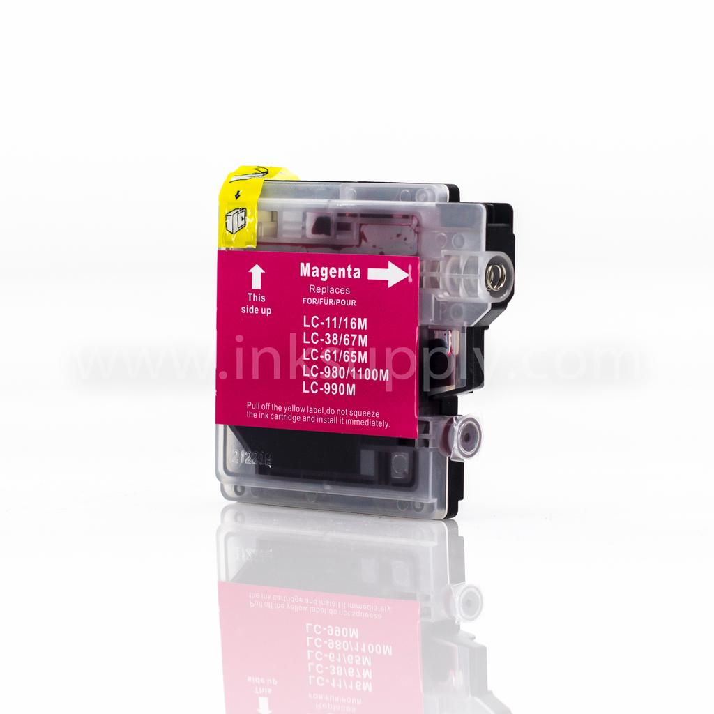 COMPATIBLE BROTHER LC61M MAGENTA INKJET CARTRIDGE FILLED WITH AFTERMARKET COMPATABLE INK