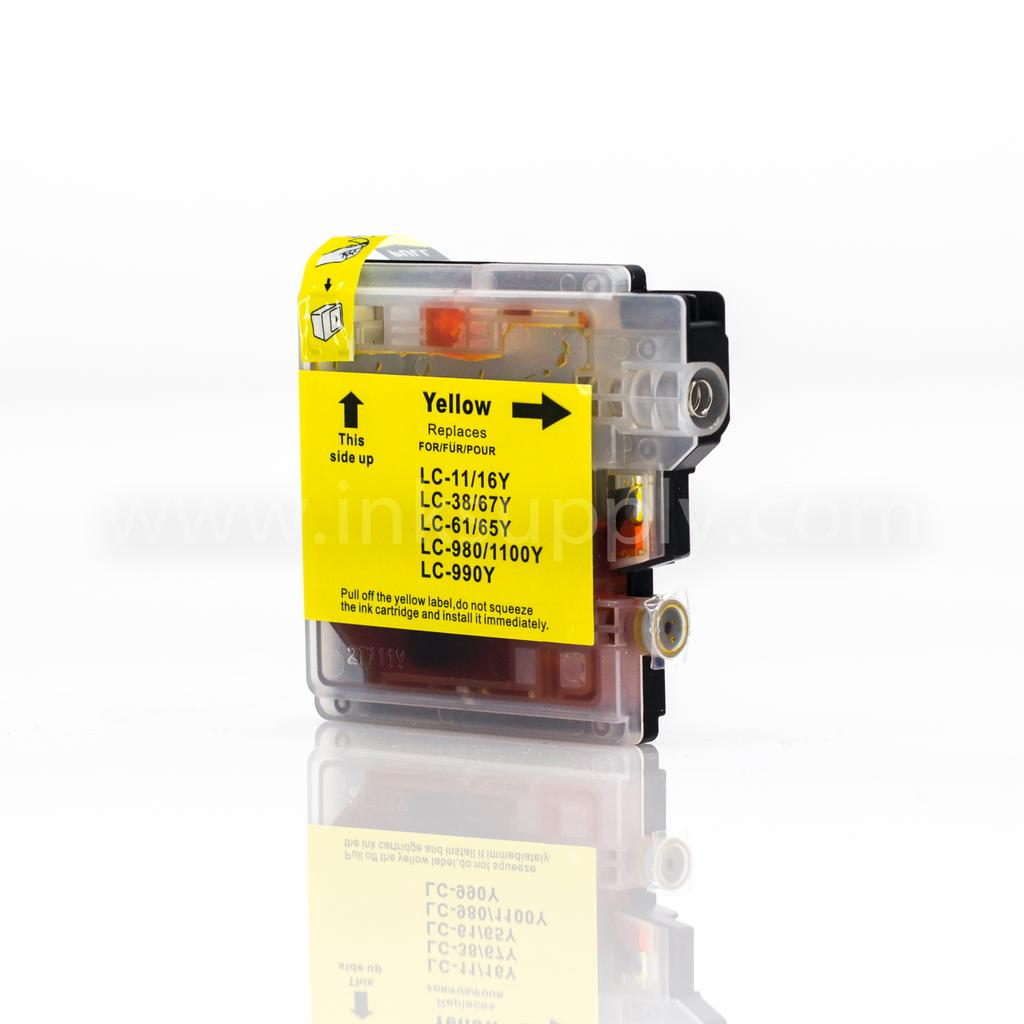 COMPATIBLE BROTHER LC61Y YELLOW INKJET CARTRIDGE FILLED WITH AFTERMARKET COMPATABLE INK