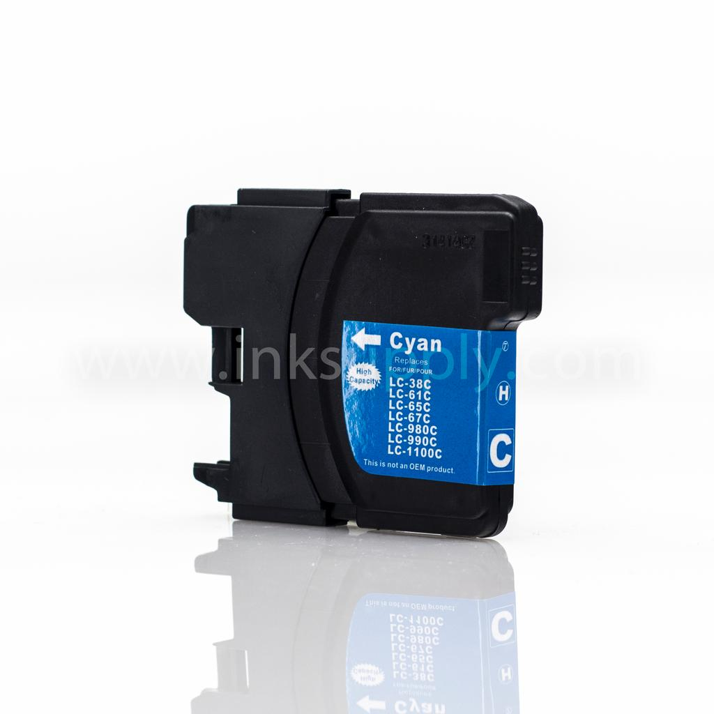 COMPATIBLE BROTHER LC65HYC HIGH YIELD CYAN INKJET CARTRIDGE FILLED WITH AFTERMARKET COMPATABLE INK