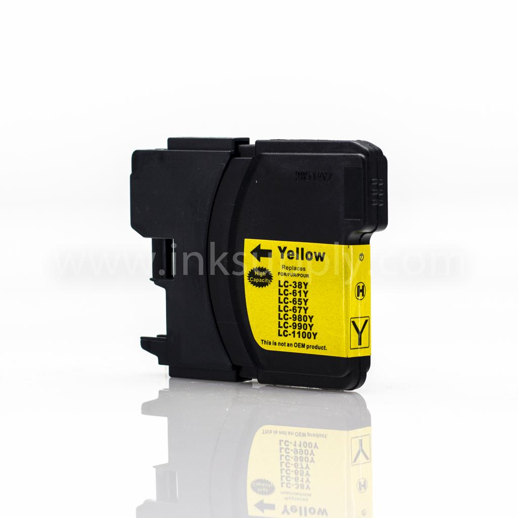 COMPATIBLE BROTHER LC65HYY HIGH YIELD YELLOW INKJET CARTRIDGE FILLED WITH AFTERMARKET COMPATABLE INK