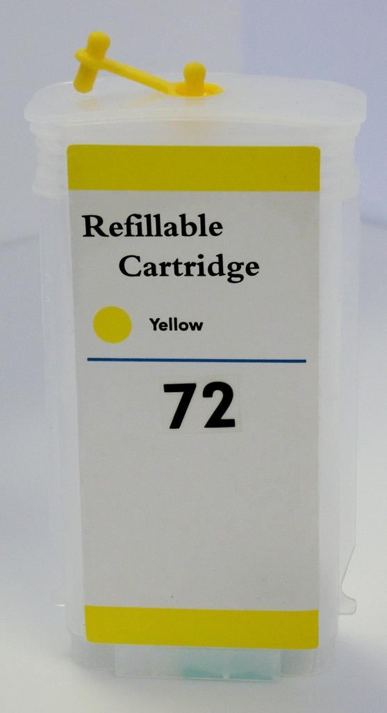 HP #72 (HP72) Refill Friendly High Capacity Compatible Yellow Cartridge (130ml) - Empty No Ink