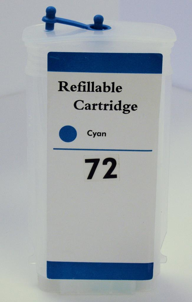 HP #72 (HP72) Refill Friendly High Capacity Compatible Cyan Cartridge (130ml) - Empty No Ink