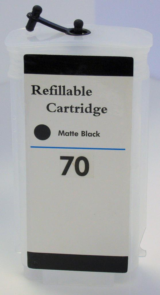 HP #72 (HP72) Refill Friendly High Capacity Compatible Matte Black Cartridge (130ml) - Empty No Ink