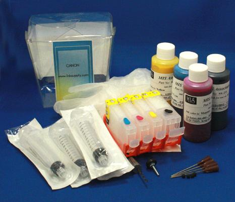 REFILL KIT FOR BCI3 C,M,Y AND BKI3EBK - KIT CONTAINS ACCESSORIES, EMPTY CARTRIDGES AND 2oz INKSET (4 BOTTLES)