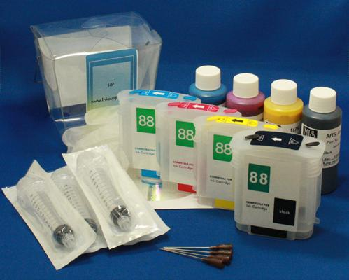 REFILL KIT FOR 4 COLOR (#88) HP PRINTERS - KIT CONTAINS ACCESSORIES, EMPTY CARTRIDGES AND 4OZ INKSET (4 BOTTLES)