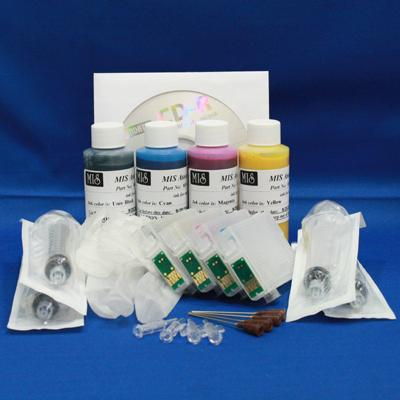 REFILL KIT FOR 4 COLOR (#T1261-#T1264) EPSON PRINTERS - KIT CONTAINS ACCESSORIES, EMPTY CARTRIDGES AND 2OZ. (5 REFILLS) INK SET