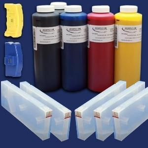 KIT CONTAINS 5 440ML FUNNEL CARTRIDGE SET FILL WITH CHIPS. 5 REFILL FUNNEL 1 PINT SET OF 5 INKS 1 SK179 RESETER FOR PRINTER CARTRIDGES THESE CARTRIDGES OFFER AN OUTSTANDING SAVINGS OVER OEM CARTRIDGES.