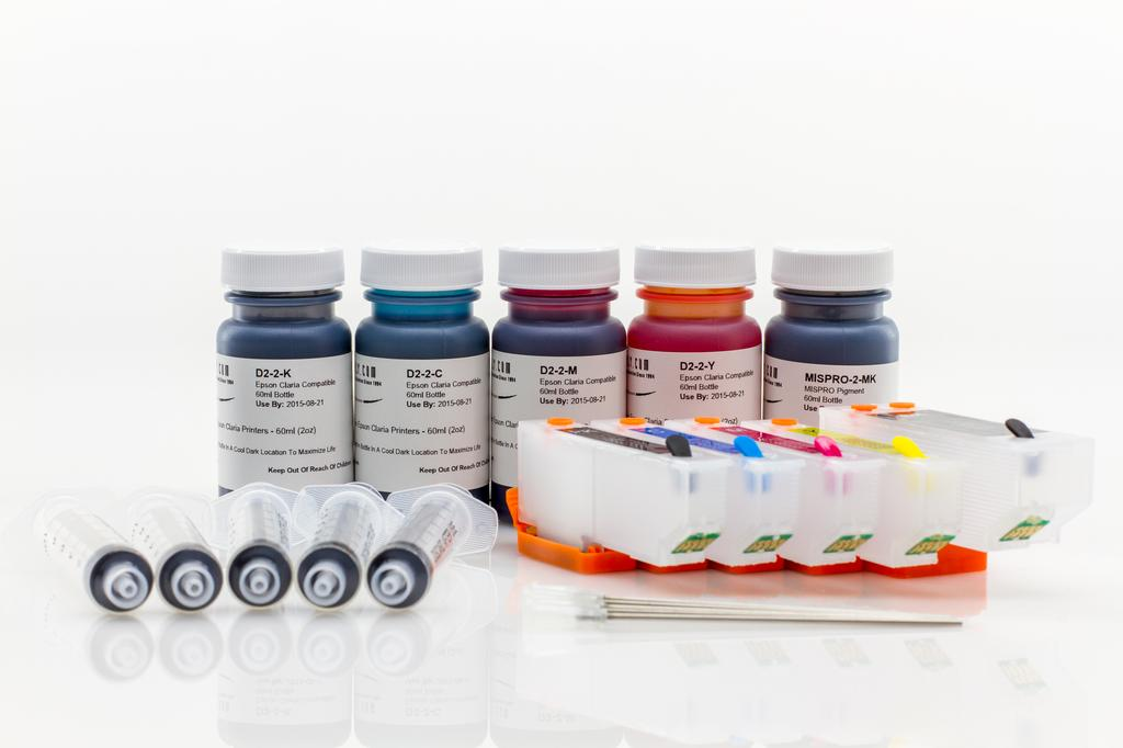 REFILL KIT FOR 5 COLOR (T273XL) EPSON PRINTERS - KIT CONTAINS ACCESSORIES, EMPTY CARTRIDGES AND 2OZ. (4 REFILLS) INK SET