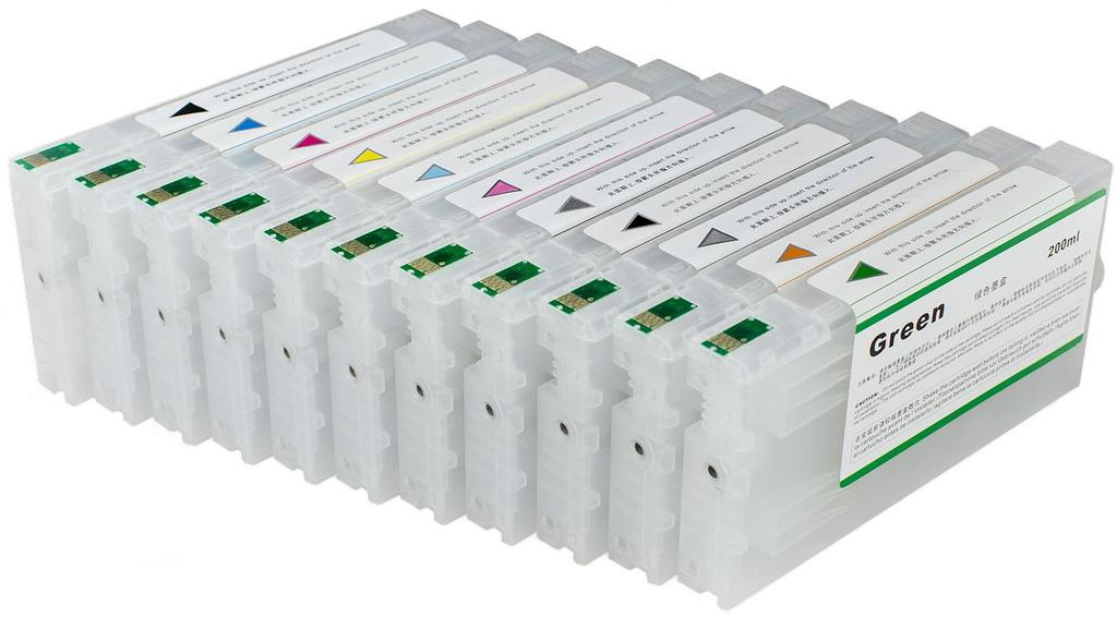 MIS 4900 FUNNEL FILL CARTRIDGE SET 11 COLOR POSITIONS 350ML CAPACITY EACH